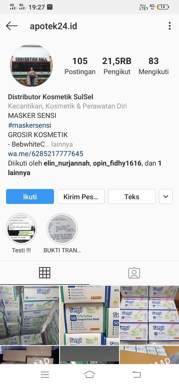 Modus Jual Masker Melalui Online Pemilik Instagram Apotek24 Id